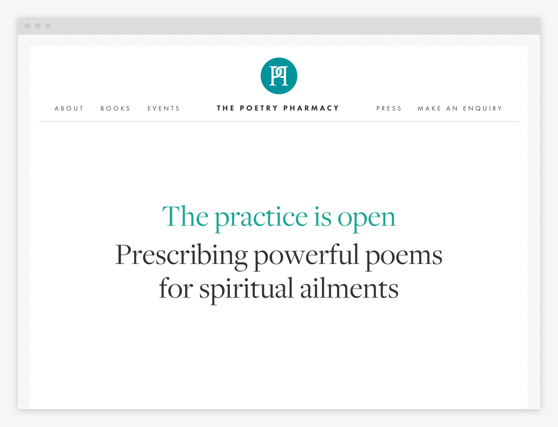 Homepage: The practice is now open. Prescribing powerful poems for spiritual ailments.